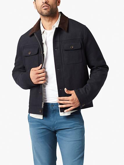 Wool Blend 2 Chest Pocket Cord Collar Jacket