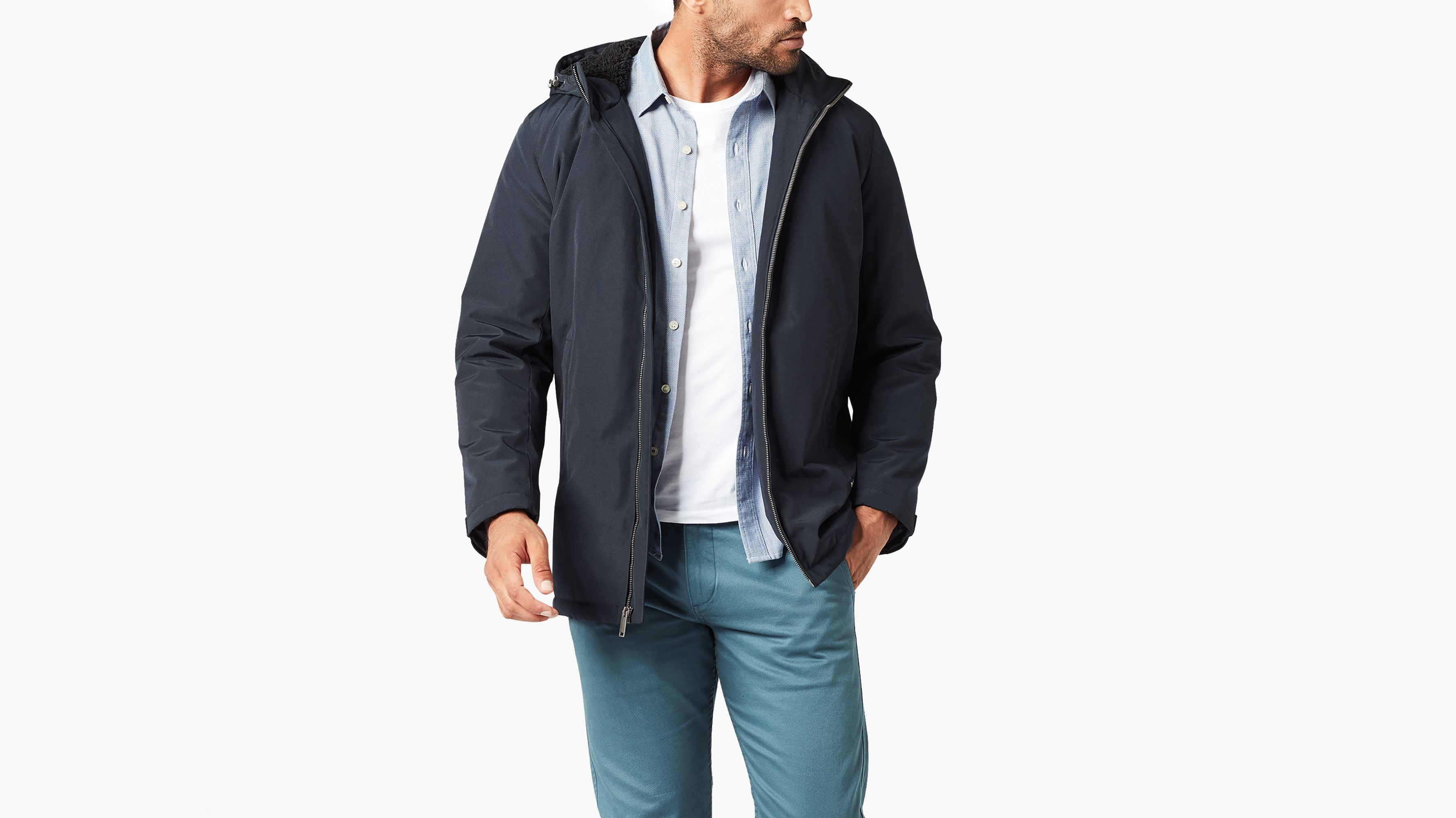 Long Hooded Parka With Sherpa Lining
