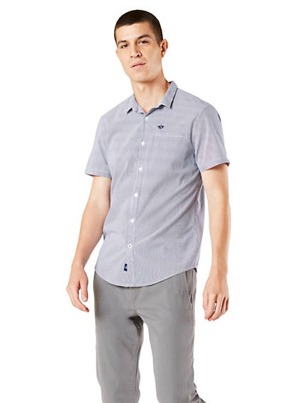 Men's Performance Seersucker Button-Up Shirt, Standard Fit