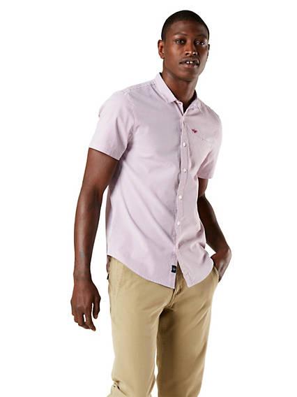 Men's Performance Seersucker Button-Up Shirt, Standard Fit