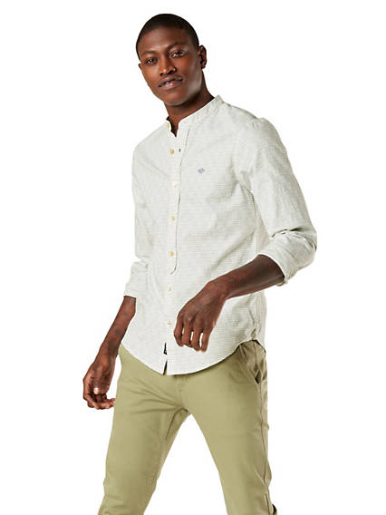 Men's Band Collar Button-Up Shirt, Slim Fit
