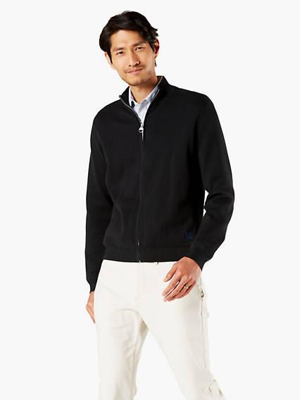 Men's Full Zip Mock Neck Sweater