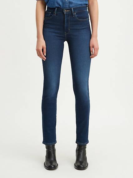 724 Jean droit taille haute pour femme