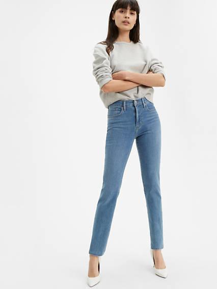 724 Jean abrégé droit taille haute pour femme