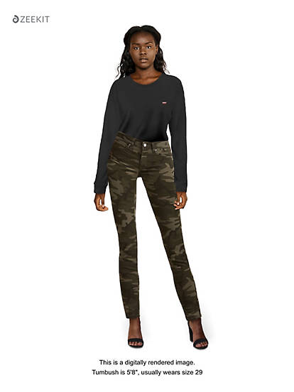 buy online classic fit fashion style Camo Print 711 Skinny Ankle Women's Jeans - Green | Levi's® US