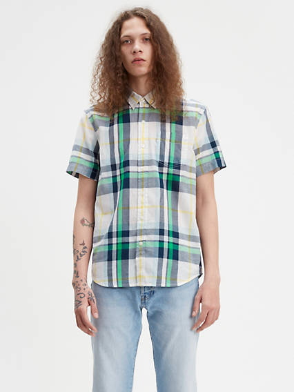 Plaid Short Sleeve Classic One Pocket Shirt