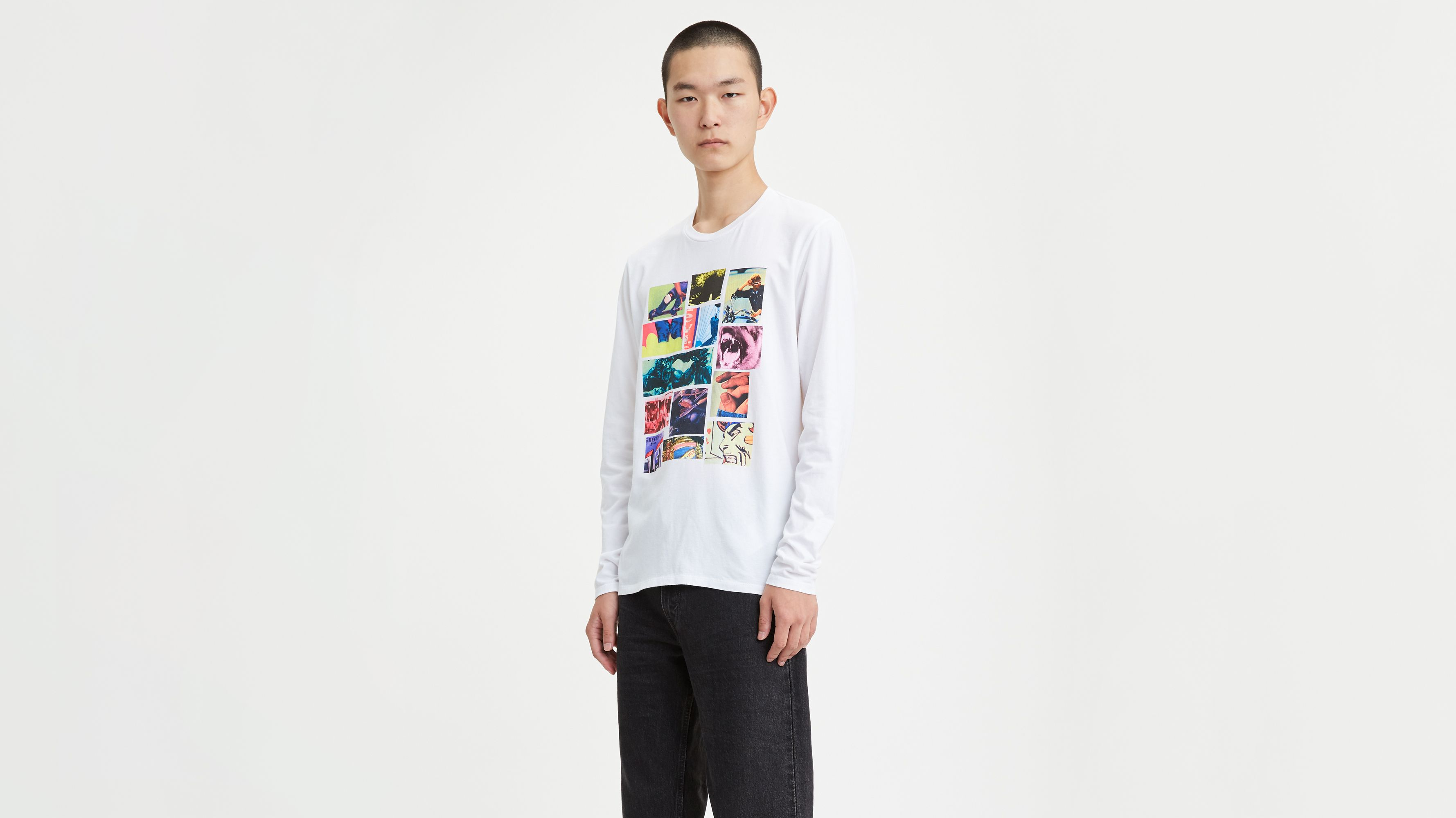 Long Sleeve Photo Collage Graphic Tee Shirt