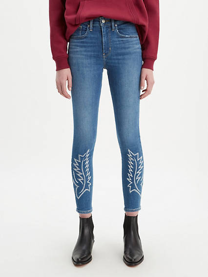 721 High Rise Embroiderd Ankle Skinny Jeans