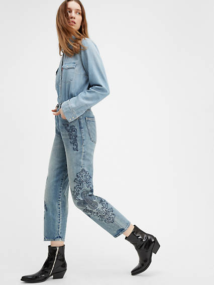 Embroidered Barrel Women's Jeans