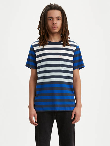 Colorblock Striped Sunset Pocket Tee Shirt