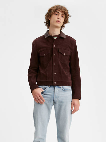 Men's Vintage Pants, Trousers, Jeans, Overalls Levis 1960S Suede Trucker Jacket - Mens M $1,019.98 AT vintagedancer.com