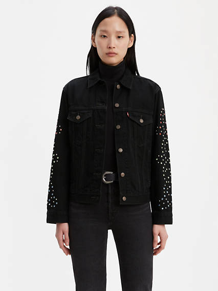 Ex-Boyfriend Studded Sleeve Trucker Jacket