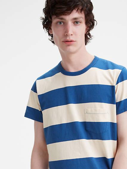 1960s – 70s Mens Shirts- Disco Shirts, Hippie Shirts Levis 1960s Striped Tee Shirt T-Shirt - Mens L $118.00 AT vintagedancer.com