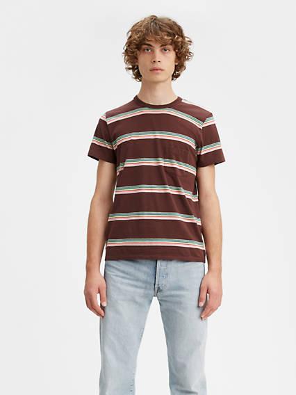 Mens Vintage Shirts – Retro Shirts Levis 1960s Striped Tee Shirt T-Shirt - Mens S $82.98 AT vintagedancer.com