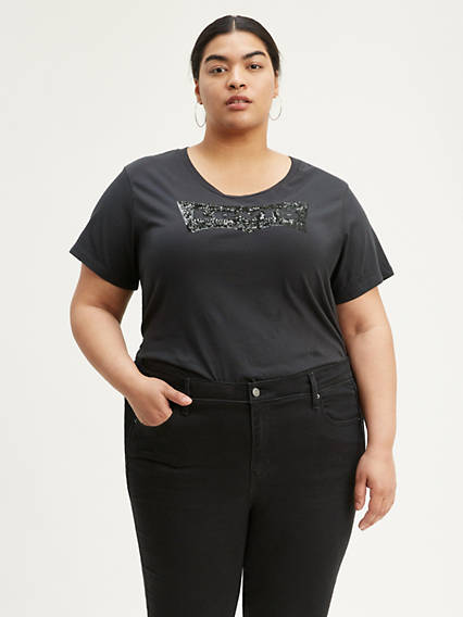 Levi's® Logo Sequin Tee Shirt (Plus Size)