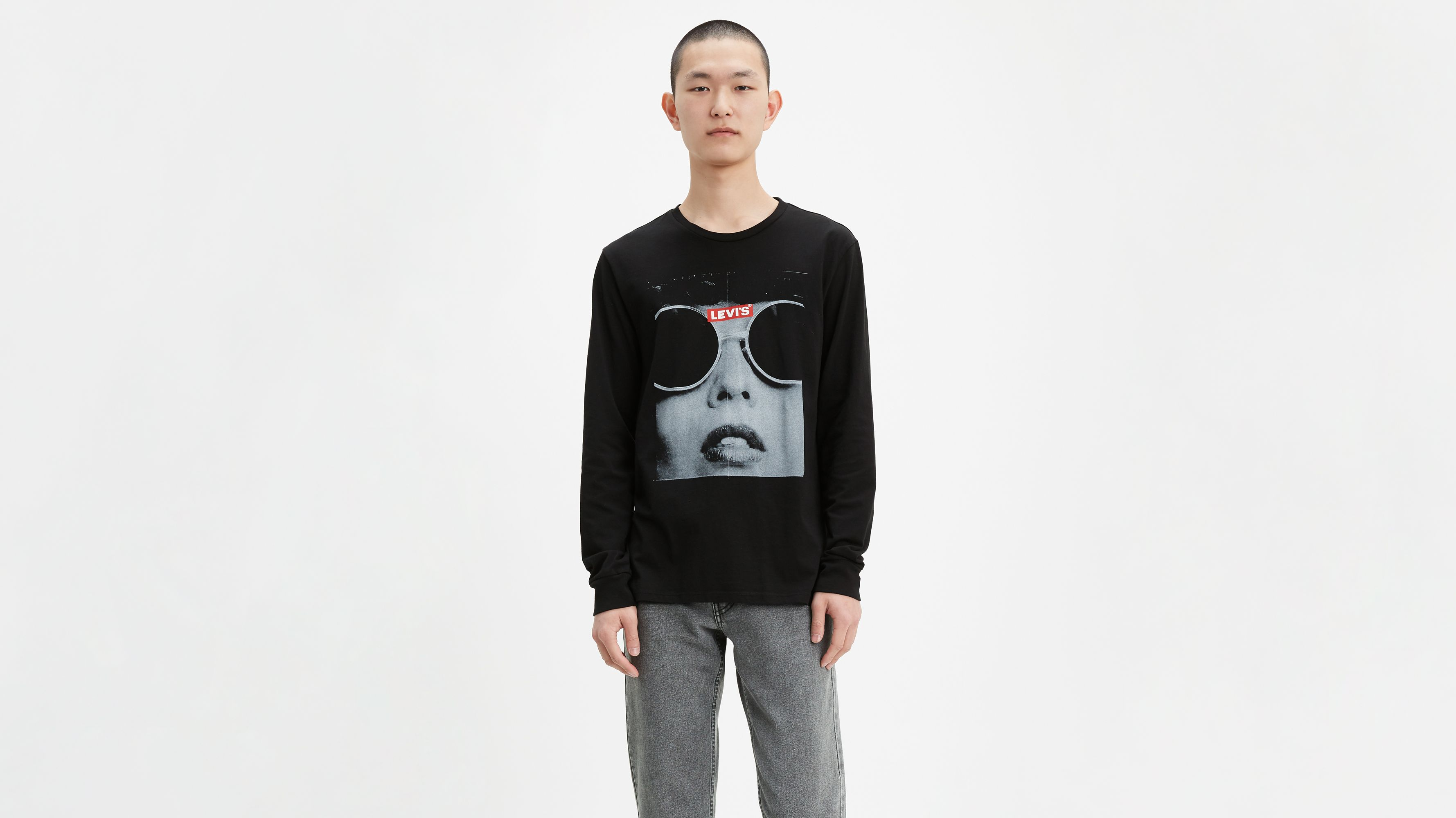 Long Sleeve Sunglass Photo Graphic Tee Shirt