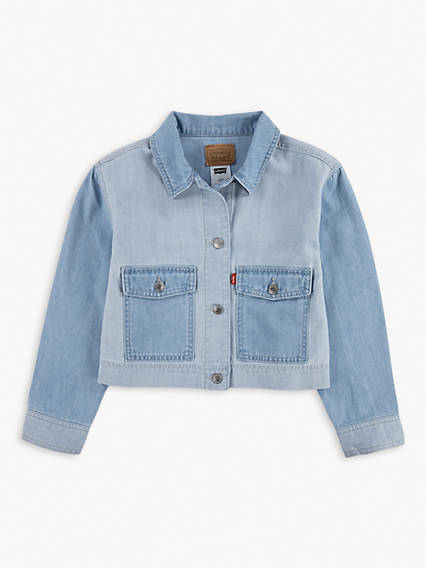 Big Girls (S-XL) Cropped Utility Trucker Jacket