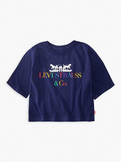 Big Girls Graphic Cropped Tee Shirt