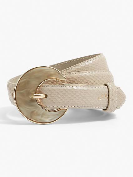 Pearl Buckle Snakeskin Belt
