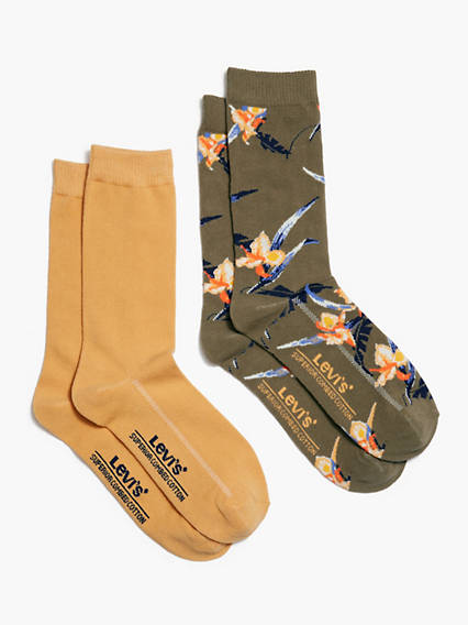 Tropical Print Crew Cut Socks (2 Pack)