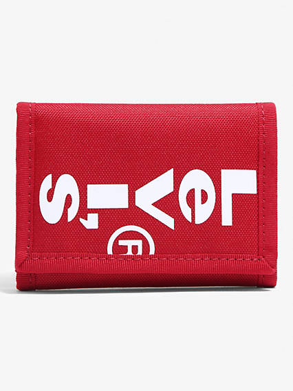 Oversized Red Tab Trifold Wallet