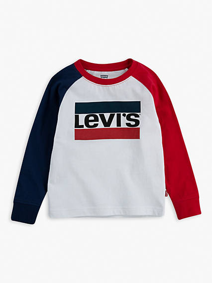 Toddler Boys 2T-4T Longsleeve Colorblock Sportswear Logo Tee Shirt