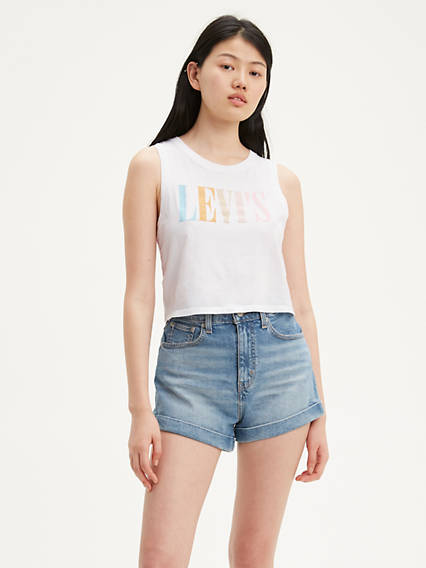 90's Serif Logo Graphic Cropped Tank Top