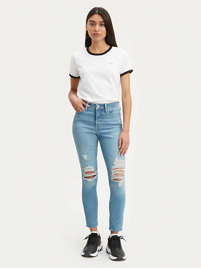 Womens Light Washed Ripped Jeans