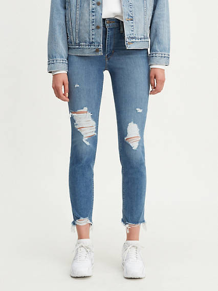724 High Rise Straight Crop Ripped Women's Jeans