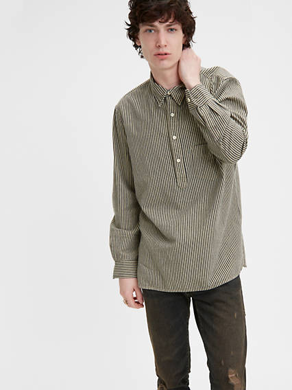 1920s Style Mens Shirts | Peaky Blinders Shirts and Collars Levis One Pocket Stripe Shirt - Mens S $195.00 AT vintagedancer.com