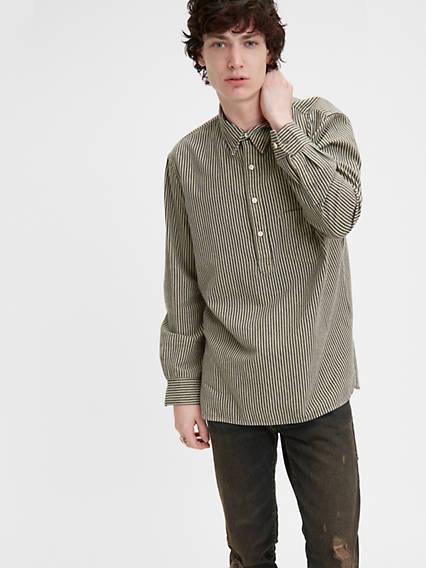 Men's Vintage Workwear – 1920s, 1930s, 1940s, 1950s Levis One Pocket Stripe Shirt - Mens S $195.00 AT vintagedancer.com
