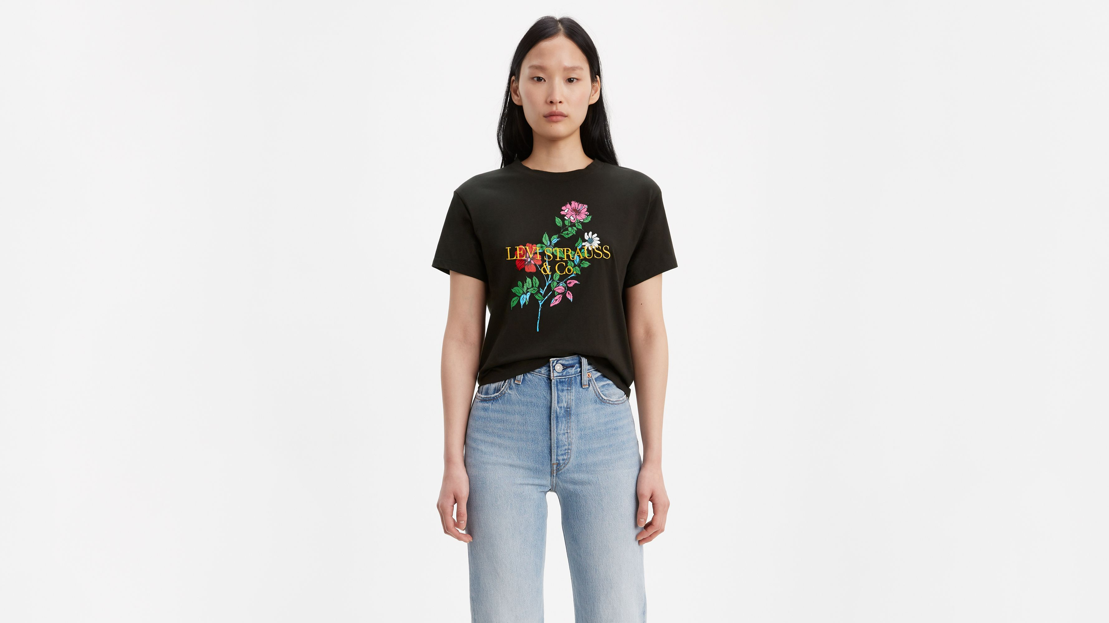 Buy Levis Womens The Perfect Pastel Logo T Shirt in Grey