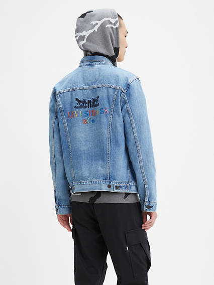 Embroidered Back Trucker Jacket