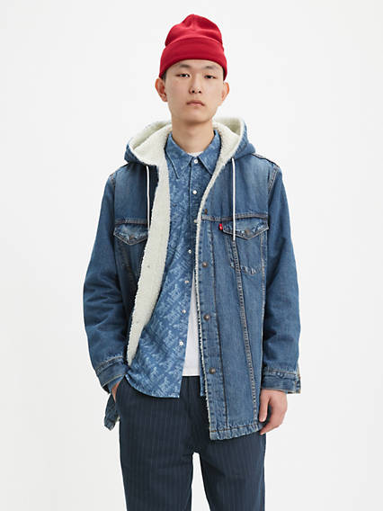 Long Hooded Sherpa Trucker Jacket