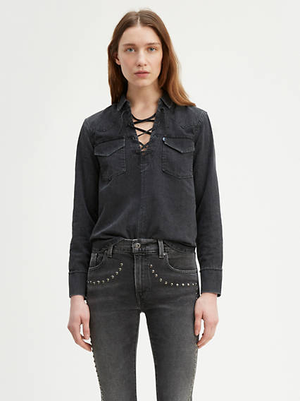 Levi's® Made & Crafted® Denim Lace Up Top