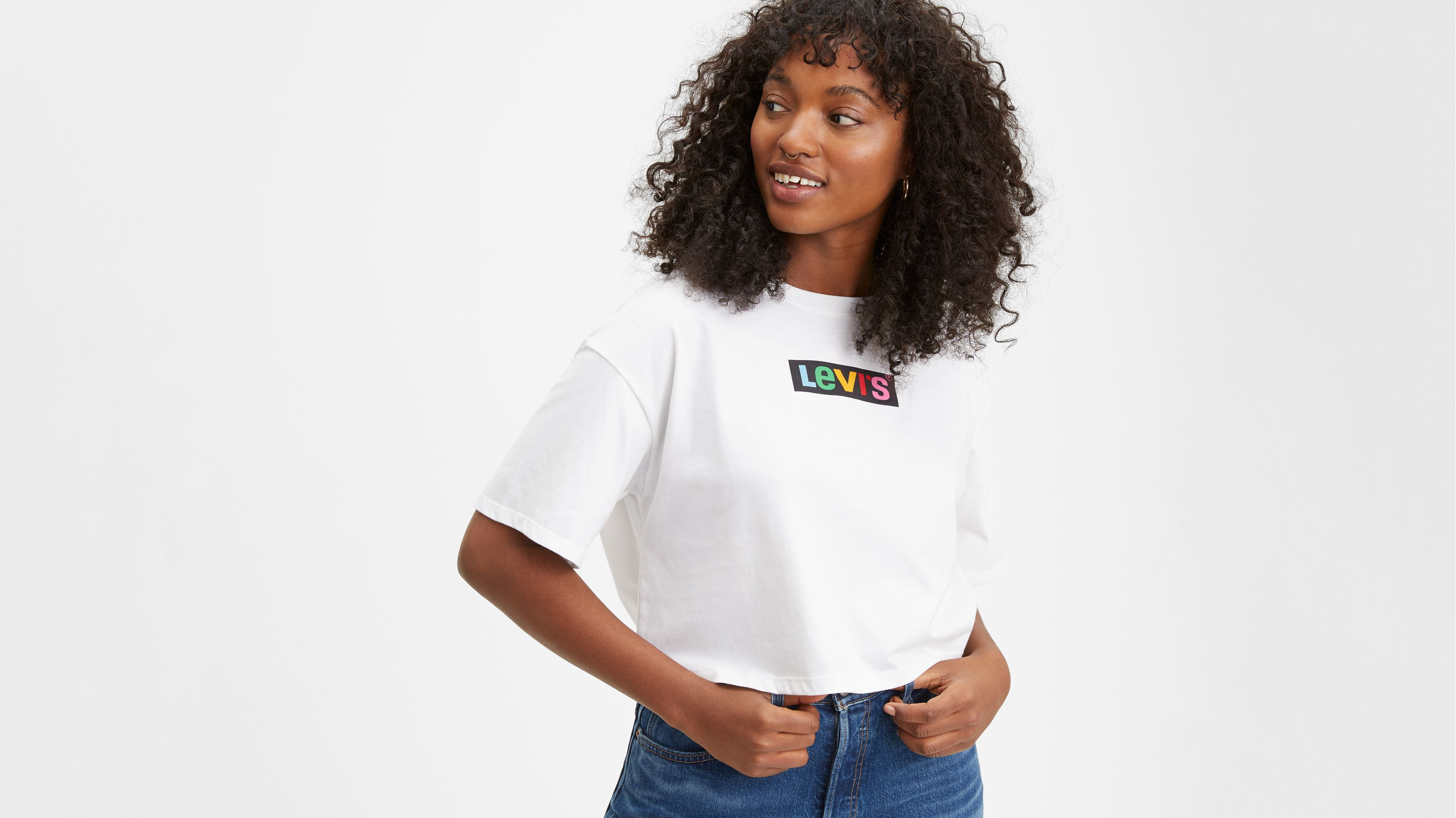 Graphic Oversize Tee Shirt Rainbow Box Tab