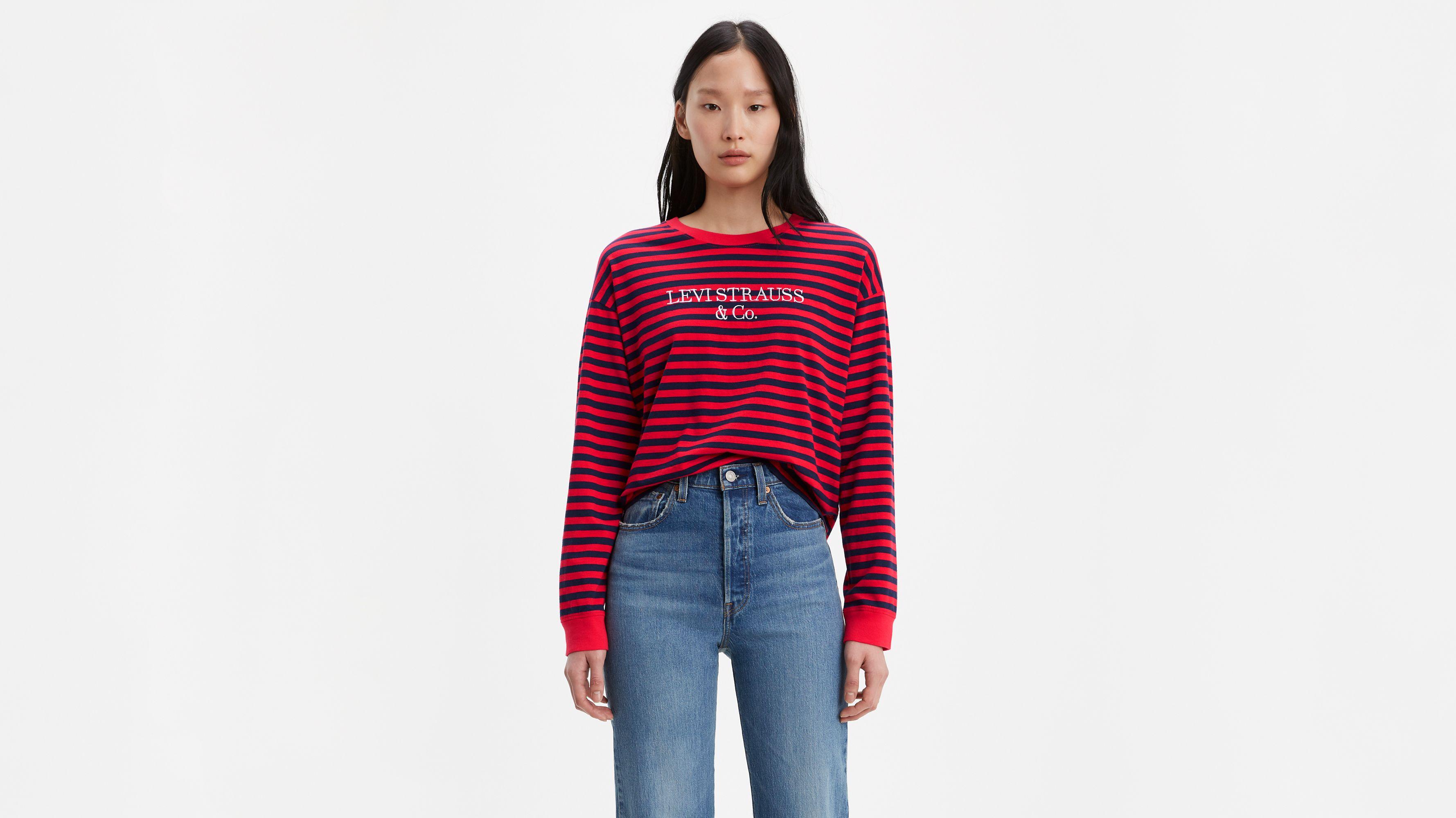 Graphic Striped Longsleeve Tee Shirt