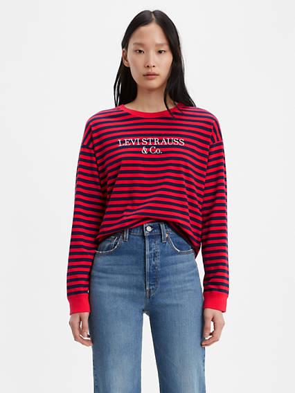 Graphic Striped Longsleeve Tee Shirt