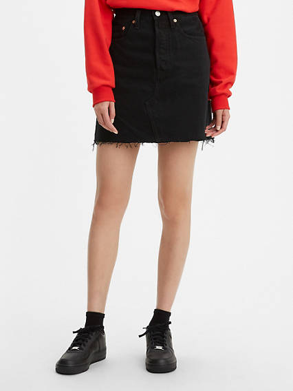 High Rise Deconstructed Button Fly Skirt