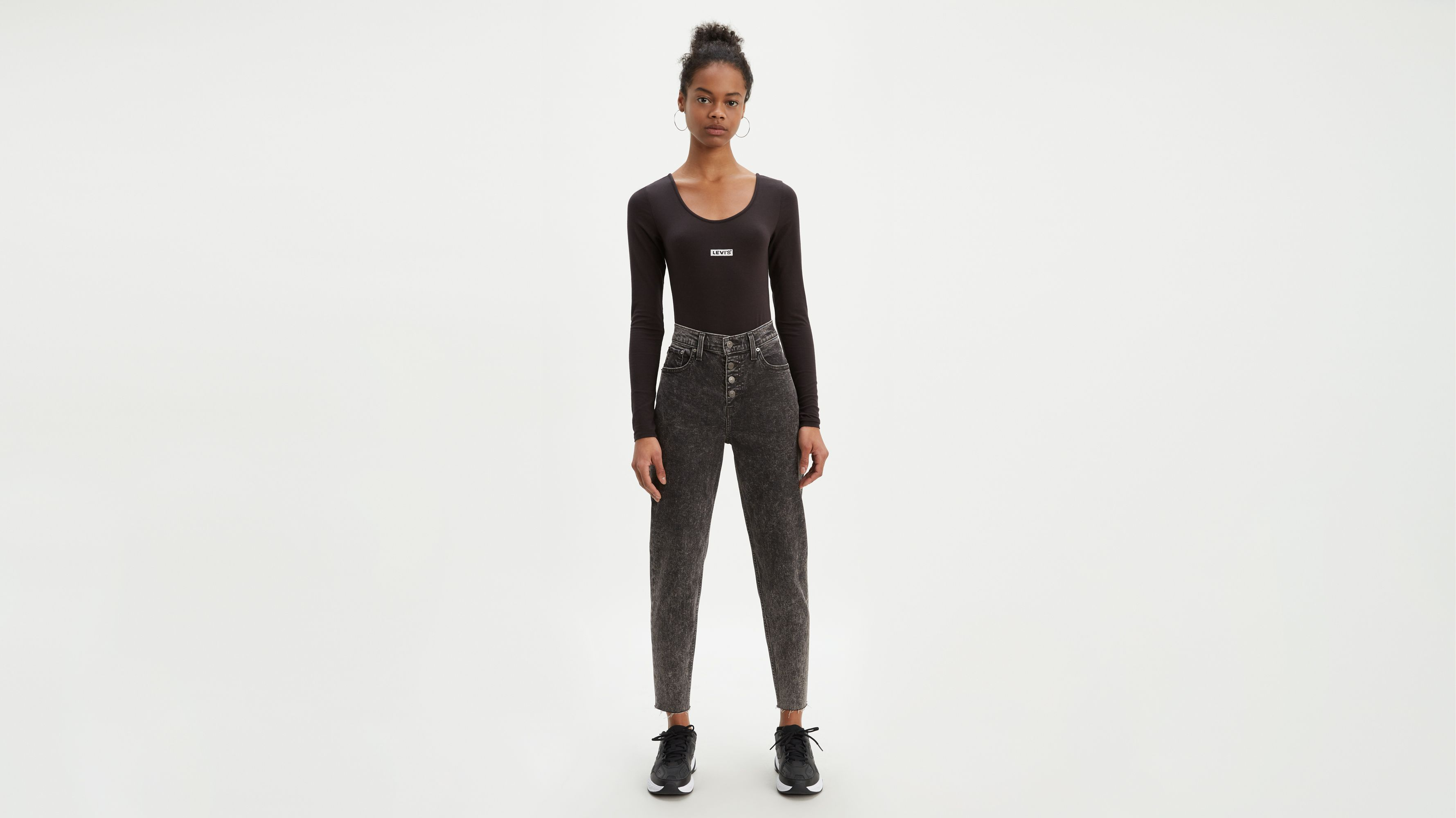 Exposed Button Mom Women's Jeans