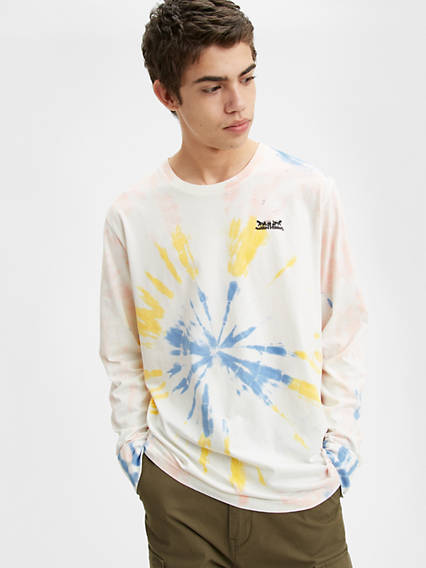 Long Sleeve Two Horse Graphic Tie Dye Tee Shirt