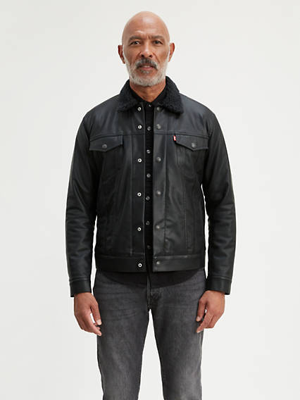 Faux Leather Sherpa Trucker Jacket