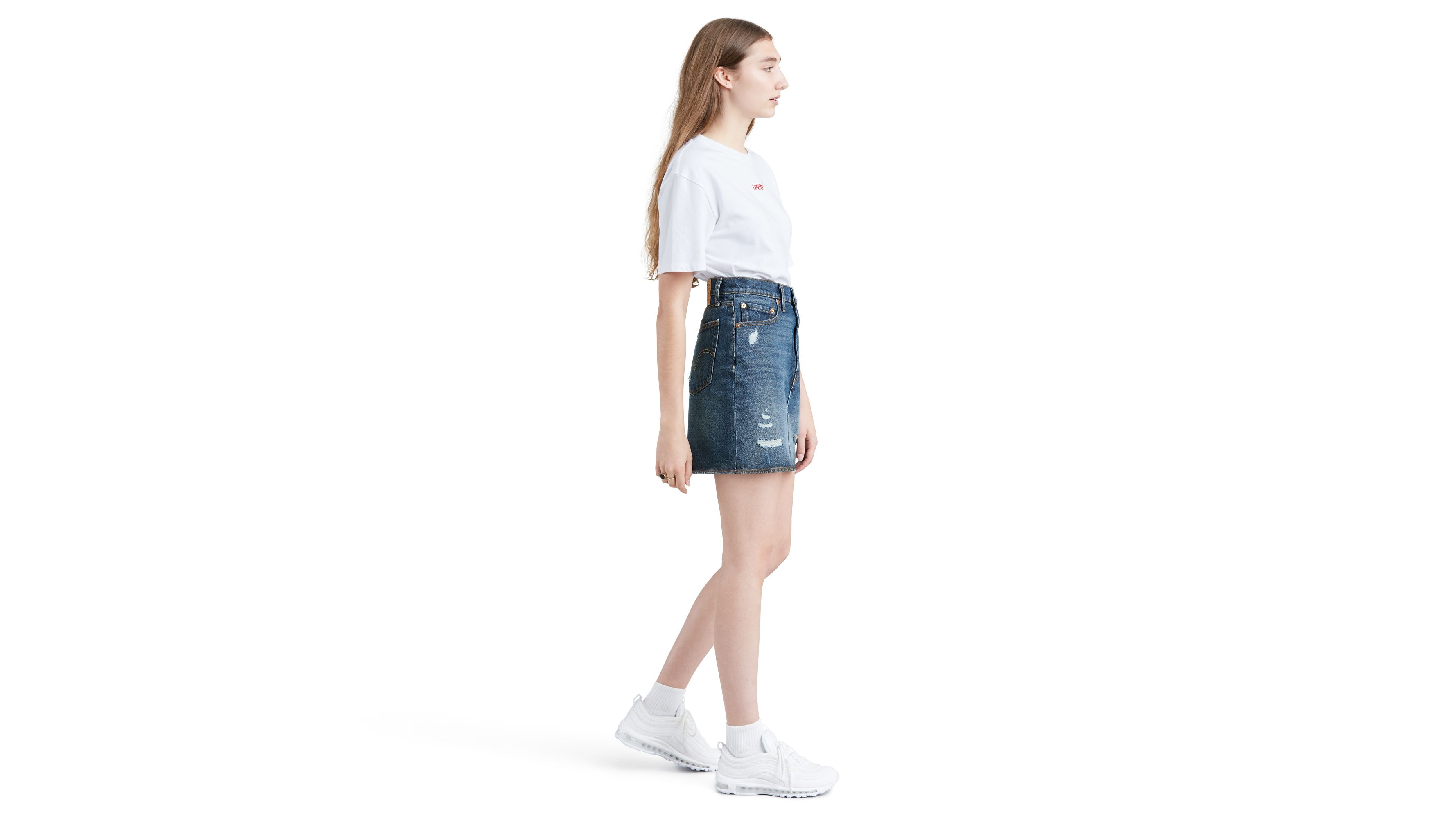 Levi's Women's Middle Avenue Med Wash Denim Skirt