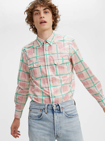 1960s – 70s Mens Shirts- Disco Shirts, Hippie Shirts Levis Shorthorn Shirt - Mens S $96.97 AT vintagedancer.com