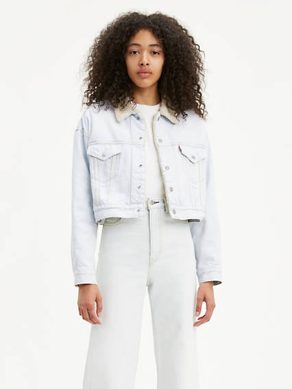 Cropped Dad Sherpa Trucker Jacket