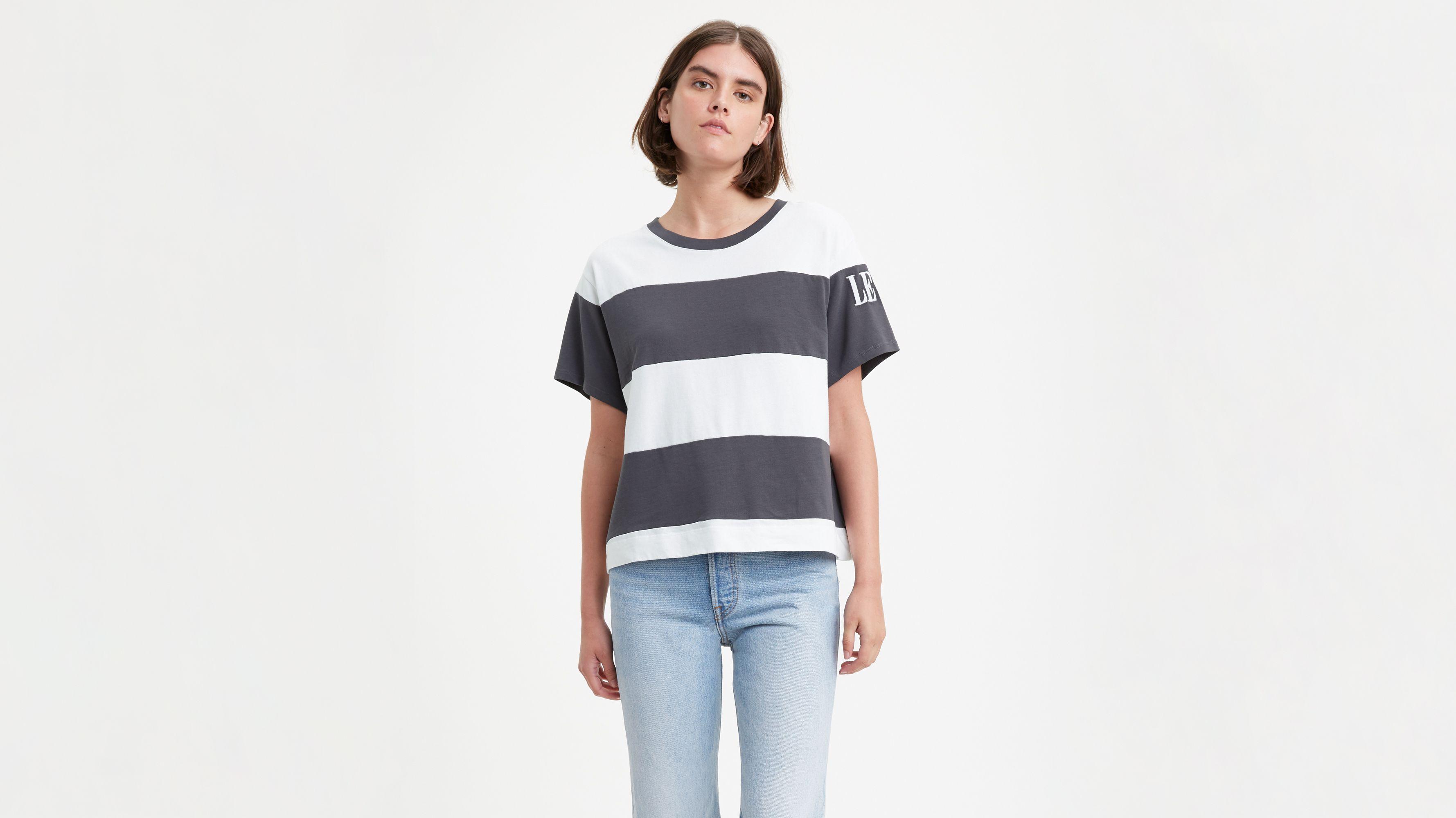 Graphic Colorblock Boxy Tee Shirt