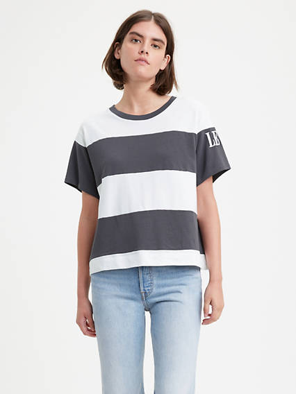 Graphic Colorblock Boxy Tee Shirt
