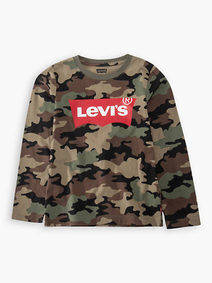 Long Sleeved Camo Batwing Tee Kids